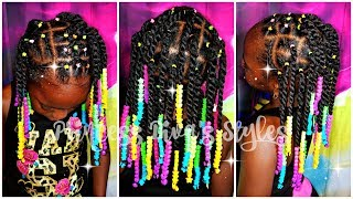 Twists Are More Fun With Rainbow Beads | 4a Natural Hair After Wash Hairstyle