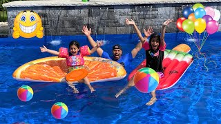 Surprise 3 MILLION Subs Pool Party with Deema Heidi and Zidane!! family Fun