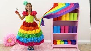 София собирается на конкурс Красоты и делает Цветное бумажное Платье Принцессы