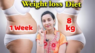This video lose upto 8 kg in 1 week - weight loss diet plan | 7 day healthcity is specially for them who want to fast so as a nutriti...