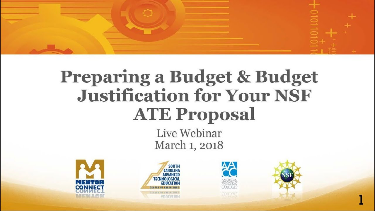 Webinar Preparing A Budget And Budget Justification For Your Nsf
