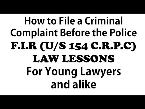 Learning to Draft a Criminal Complaint | FIR | Law Lessons