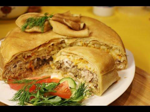 курник из блинов с курицей и грибами рецепт с фото