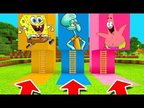 Minecraft PE : DO NOT CHOOSE THE WRONG LADDER! (Spongebob, Squidward & Patrick)