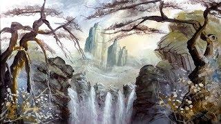 Lukis pemandangan air terjun dan tebing Acrylic painting