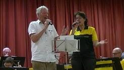 Die Postkapelle Bad Kissingen beim Benefizkonzert in Oberthulba am 7.4. 2019 mit  Dankeschön