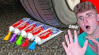 EXPERIMENT: Car VS Rainbow Toothpaste!