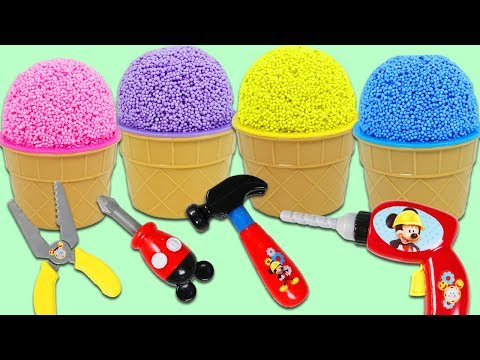 Play Foam Ice Cream Surprise Cups Opening with Disney Mickey Mouse Mousekadoer Tools!