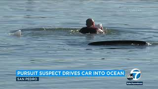 Chase suspect drives car into ocean in San Pedro, attempts to swim away I ABC7