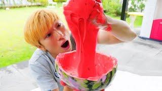giant watermelon slime kids toys play Nursery Rhymes 초거대 수박 슬라임 만들기 인기 동요 놀이 | 말이야와아이들 MariAndKids