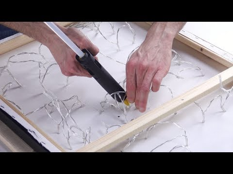 He Glues The String Lights On The Canvas. And Then? Wow!