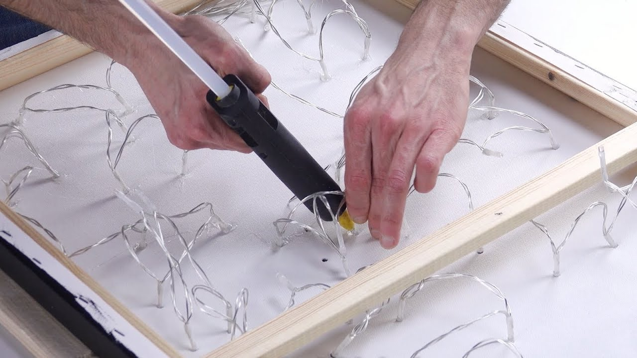 Glue The String Lights On The Canvas. And Then? Wow! - YouTube