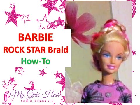 Barbie Rock Star hairstyle How-to with Colored Hair Extensions
