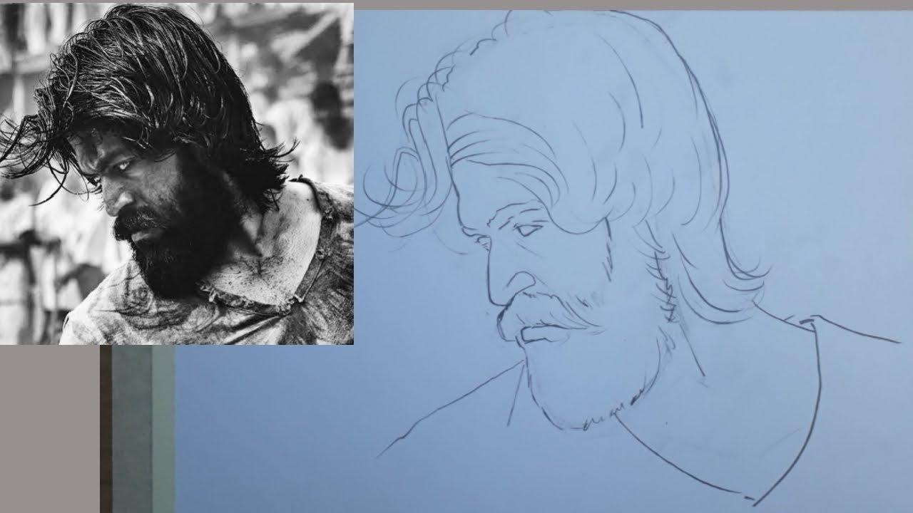 Kgf Movie Yash Pencil Sketch Part 1 Youtube