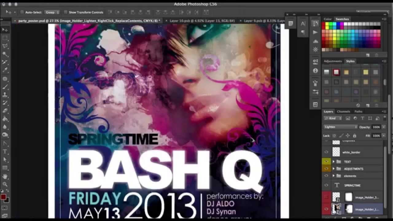 How to make a quick Party Poster Template in Photoshop - Tutorial ...