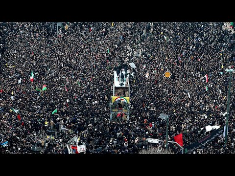 Mass procession for Iran's General Soleimani seen from the air