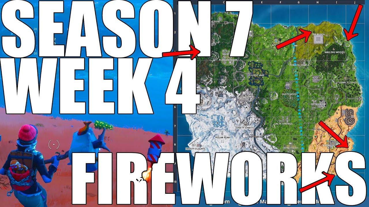 Fortnite Launch Fireworks W Map Season 7 Week 4 Youtube