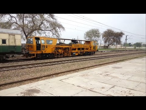 Pakistan Railways Track Machine vs Silly Dog (near fatal)