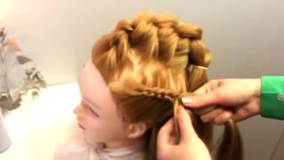 Причёска объемная коса в школу топ. Легкая прическа на 1 сентября косы и узлы. DIY