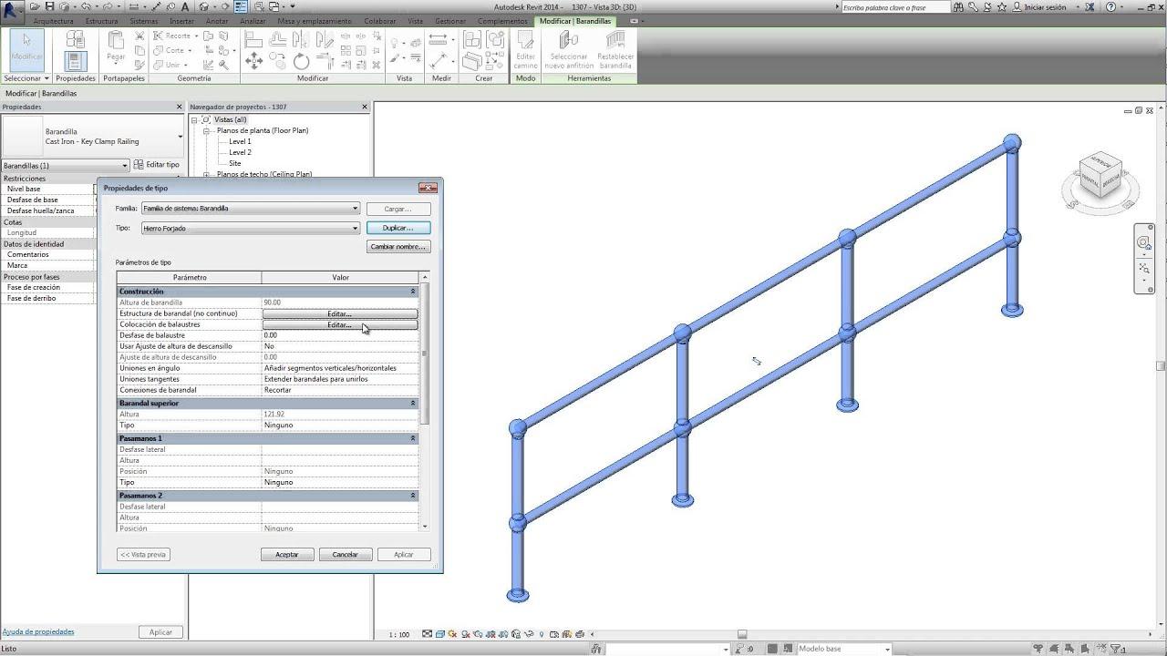 Revit analizando una barandilla youtube for Partes de una escalera