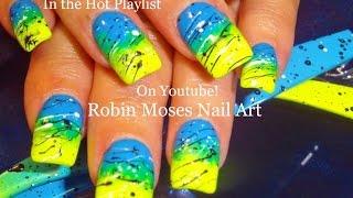 Fun Nails! | Neon Gradient Splatter Paint Nail Art Design