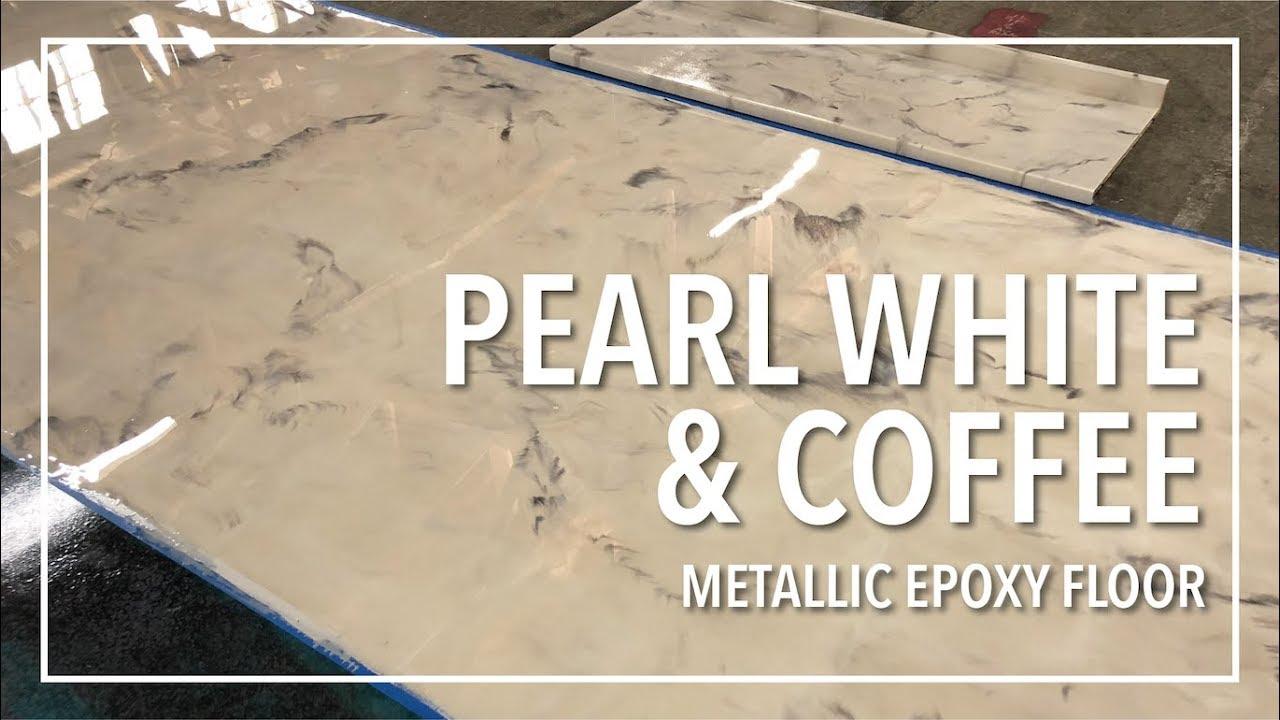 How Easy Pearl White Coffee Metallic Epoxy Floor
