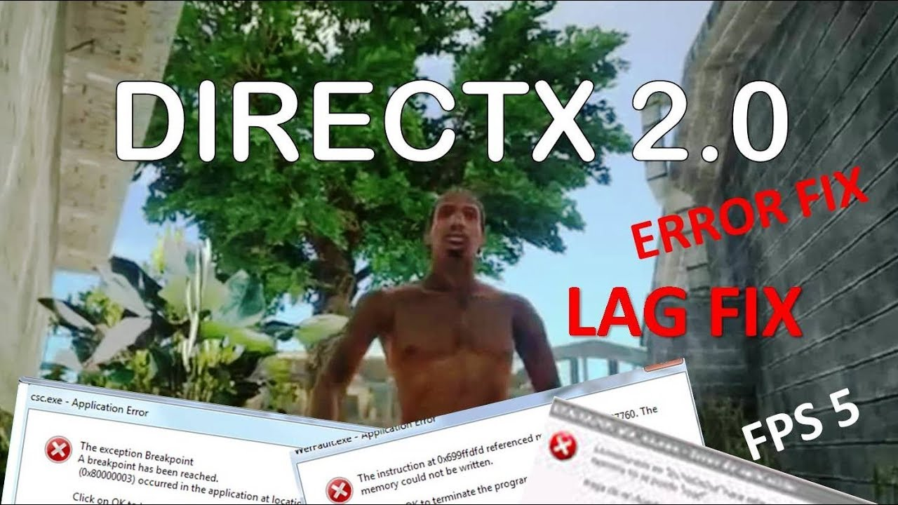gta san andreas directx error windows 10
