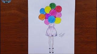 Elinde balon tutan kadın
