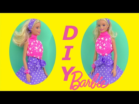 Barbie EASY DRESS 👍 DIY Balloon Shirt Crepe Paper Skirt 👚 Awesome DIY Toys