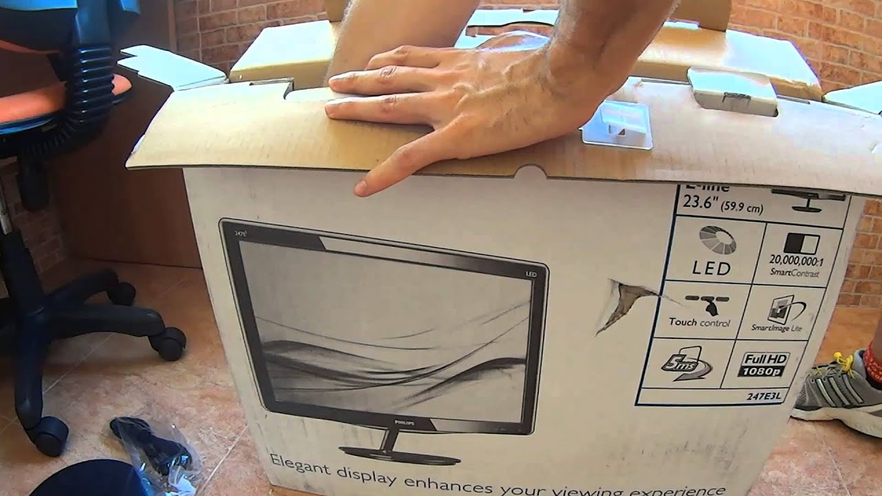 unboxing philips 247e3lsu2 e line 23 6 led youtube. Black Bedroom Furniture Sets. Home Design Ideas