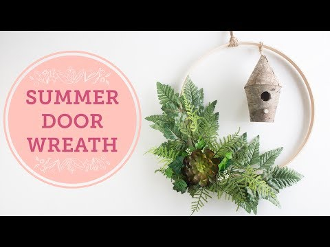 DIY Greenery Hoops Door Wreath for Summer | BalsaCircle.com