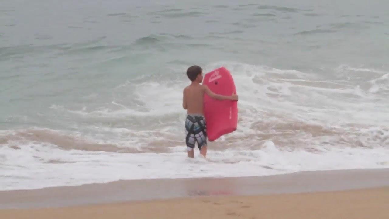 Little Kid Over The Falls In Pounding Wedge Shore-break  ??