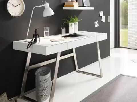 Eckschreibtisch weiß matt  Schreibtisch