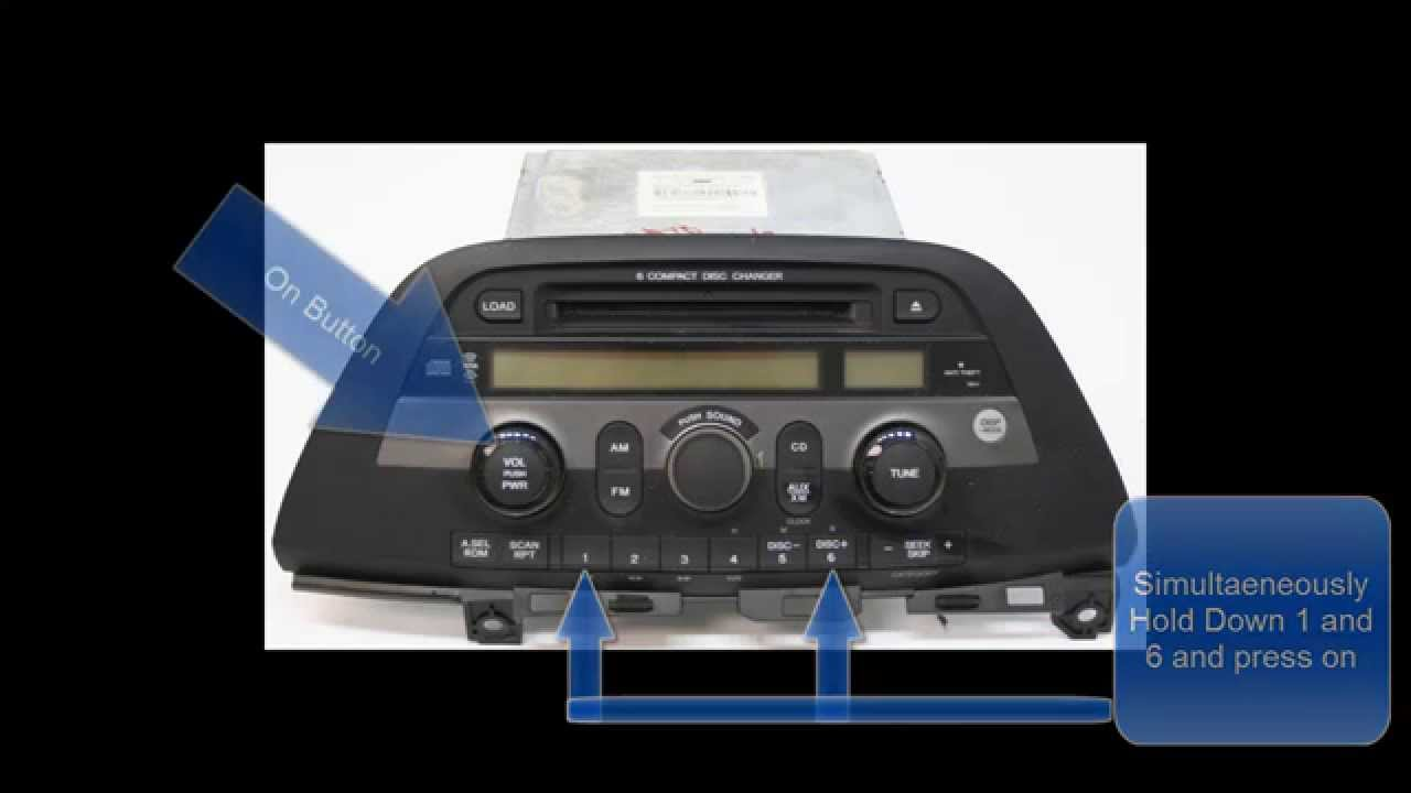 Honda Odyssey Radio Code Reset/Unlock- No Call to Dealer - YouTube