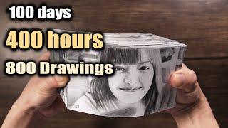 100 DAYS of Drawing LISA FLIPBOOK - DP ART DRAWING