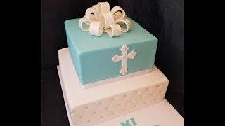 Pastel de bautizo ,moño ,cubrir pastel cuadrado bordes perfectos