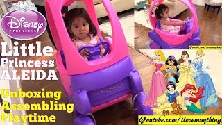 A Disney Princess Carriage for a Little Princess. Purple and Pink Ride-On Carriage for Toddlers