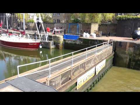 City of London, St Katharine Docks, UK, England - Lock opening in HD