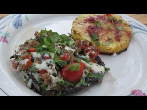 Grilled Portobello Mushrooms Stuffed with Sausage and Jalapenos