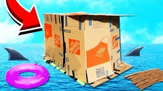 I MADE A GIANT FLOATING BOX FORT ON WATER!