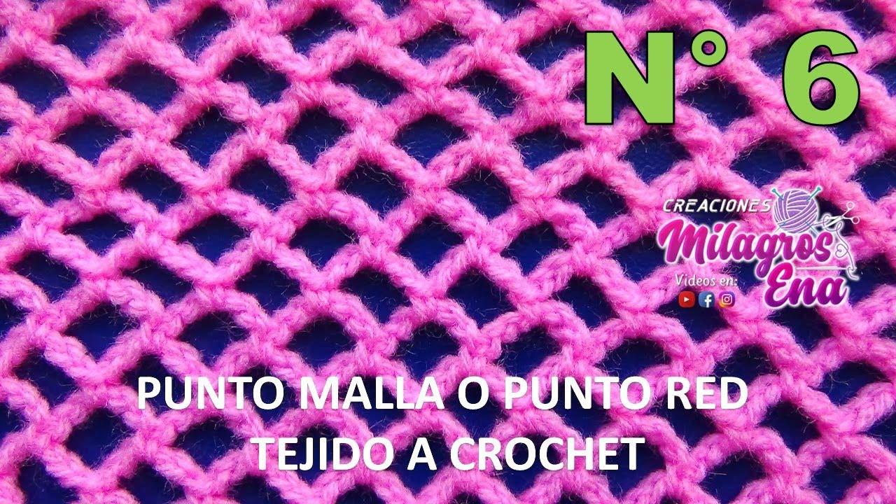 Punto malla o punto red tejido a crochet paso a paso para prendas ...
