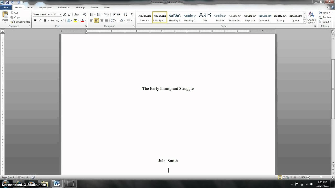 mla title page formatting