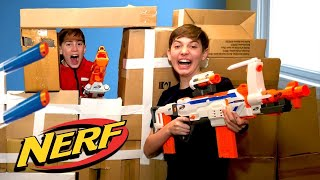 Nerf War Box Fort - Kids Action Movie