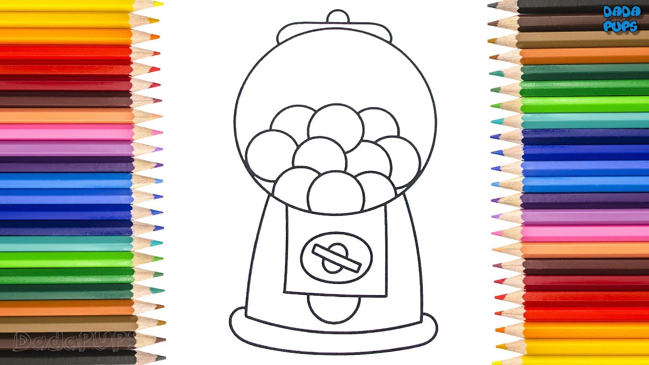 How To Draw A Gumball Machine  Gumball Machine kids Fun Art Colors  Rainbow Candy