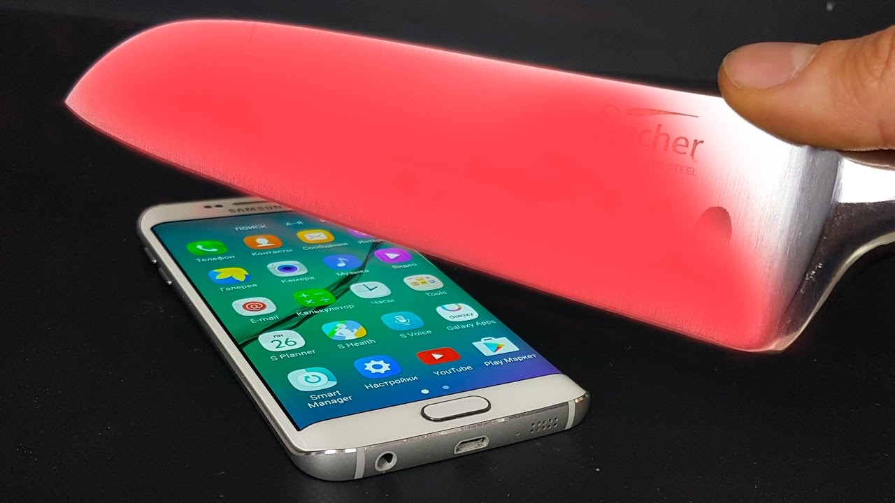 EXPERIMENT Glowing 1000 degree KNIFE VS Samsung Galaxy S6 edge
