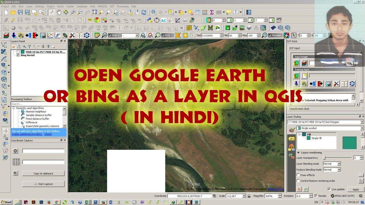 Open Google Earth or Bing Map as a layer in QGIS ( In Hindi)
