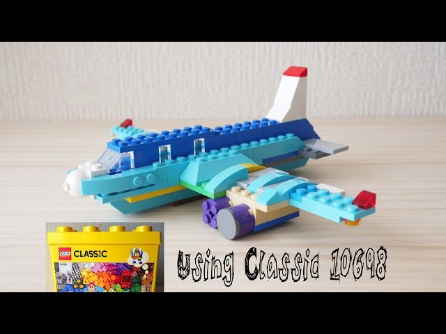 Building a LEGO airplane, using Classic 10698 (レゴ:飛行機 作り方)