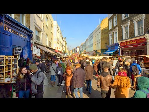 London Walk - PORTOBELLO ROAD MARKET from Notting Hill Gate Station - England, UK