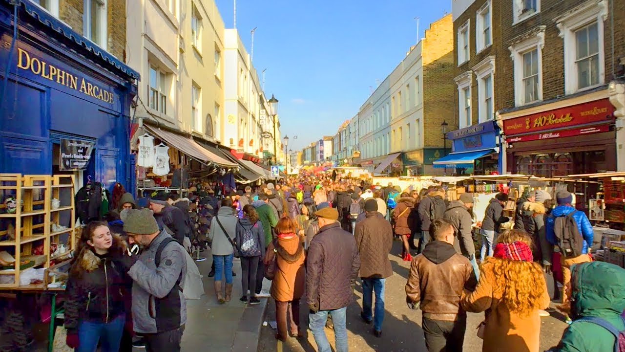 london walk portobello road market from notting hill gate station england youtube. Black Bedroom Furniture Sets. Home Design Ideas