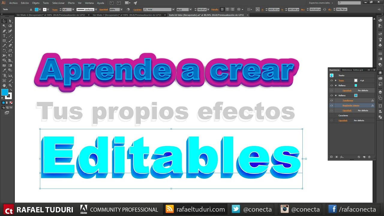 Tutorial Illustrator Crear Efectos De Texto Editables Vía Conecta Youtube